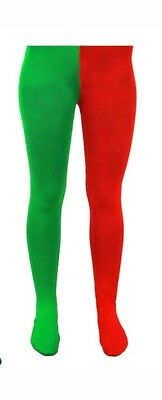 Childrens Elf Tights (Red & Green Kids S/M Age 5-9 Size Elf Tights Costume Christmas Fancy Dress)