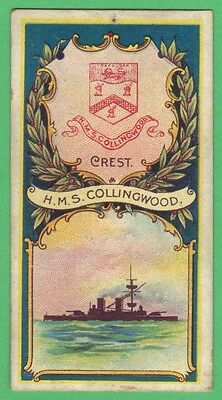 R & J Hill Cigarette Card – Battleships & Crests No 19 HMS Collingwood (1901)