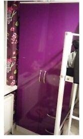 wardrobe & bedside cabinet purple gloss