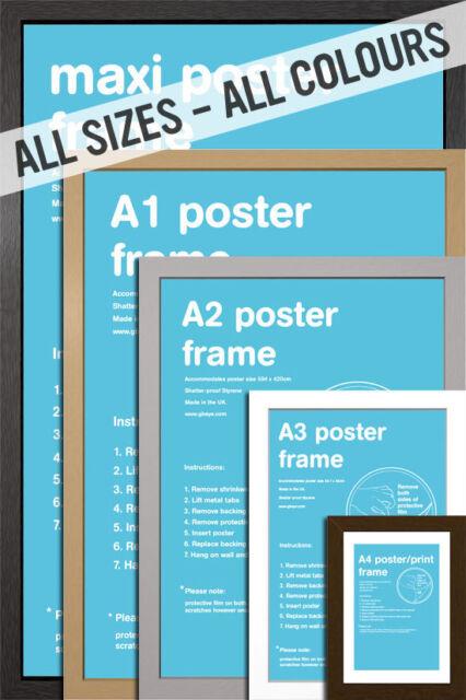 Wooden Picture / Poster Frame Black Silver Beech Oak White - Multiple Sizes