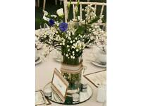 Set of 9 table centrepieces, table decorations: 9 vases, mirror bases and pack of decorative beads