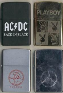 ZIPPO Lighters x 4. AC/DC - HOLDEN - MERCEDES - PLAYBOY. NEW. Wembley Cambridge Area Preview