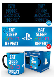 Playstation Eat Sleep Repeat Heat Changing Mug Gaming Console Breakfast Tea Cup