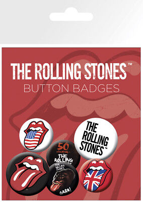 Button Badge 6er Pack ROLLING STONES - Zunge / Tongue 2x32mm & 4x25mm NEU BP0429