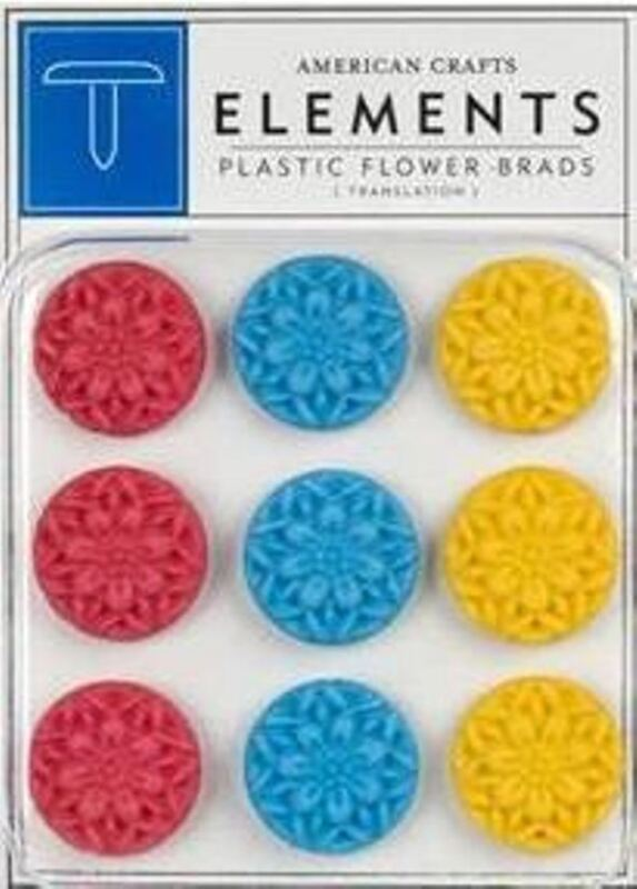American Crafts Elements ~ LARGE PLASTIC FLOWER BRADS ~ MARGARITA   -9 count