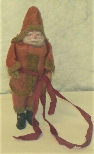 """Vintage ANTIQUE Red Belsnickle SANTA FIGURINE / ORNAMENT - 5.75"""" Tall"""