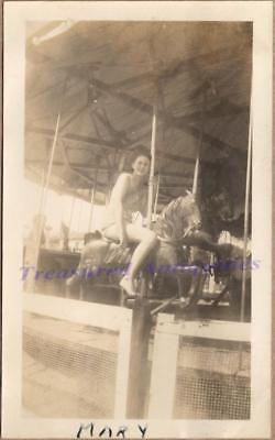 1930s Woman Swim Suit Amusement Park Carousel Horse Merry-Go-Round Ride Photo