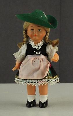 Vintage Hard Plastic 1960's Austria Costume Ethnic Doll WIND UP Toy 6.25