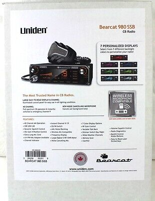 UNIDEN BEARCAT 980 SSB 40 Channel Mobile CB Radio w/ Sideband & 7 Color Display