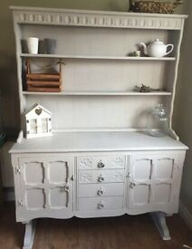Beautiful large shabby chic French dresser shelving unit in painted in Annie Sloan Flint chalk paint