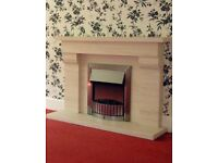 Portuguese limestone fireplace with electric fire