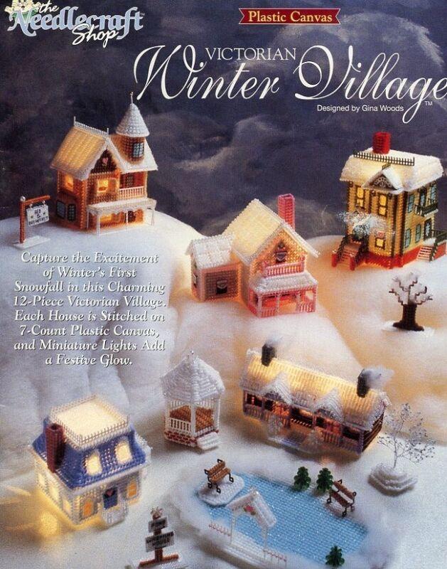 Victorian Winter Village 12 Pieces Plastic Canvas PATTERN/INSTRUCTIONS/LEAFLET