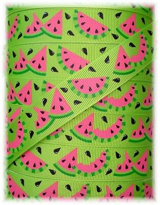 7/8 OH SO WACKY WATERMELON GROSGRAIN RIBBON SEEDS 4 HAIRBOW BOW LIME GREEN - Lime Green Ribbon