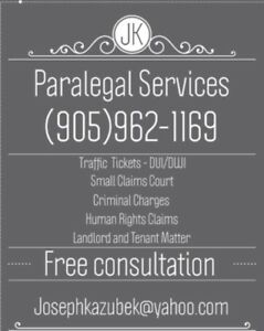 Paralegal services, payment plans available