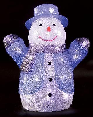 Indoor 34cm Led Acrylic Snowman Xmas Decoration Christmas Display Light Up