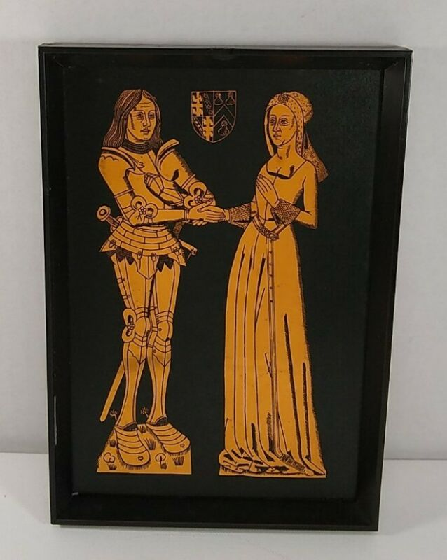 Medieval Knight Art Brass Rubbing Copper Engraving Sir W Mauntell & His Lady