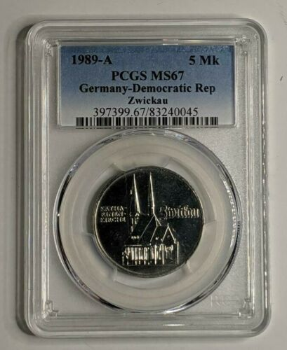 1989-A Germany 5 Mark Democratic Rep Zwickau PCGS MS 67