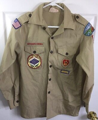 Boy Scouts Of America Official Shirt Uniform Long Sleeve Youth Large 14-16 Tan