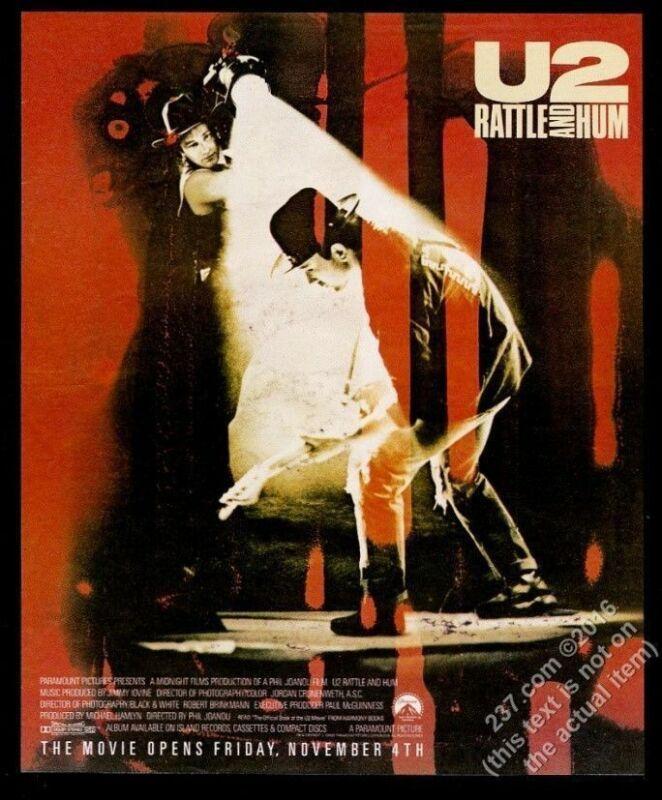 1988 U2 concert photo Rattle and Hum movie release vintage print ad