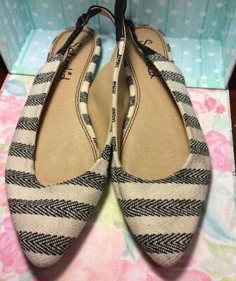 (SPLENDID*CUTE!!NAVY BLUE&WHITE STRIPED CANVAS LEATHER SLING BACK FLAT SHOES*7.5)