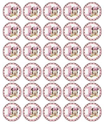 30 MINNIE MOUSE 1ST BIRTHDAY Cupcake Edible Wafer Paper Birthday Cake - Minnie Mouse 1st Birthday Cupcake Toppers