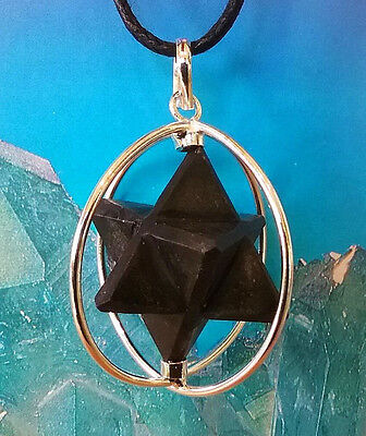 LARGE SPINNING BLACK TOURMALINE MERKABA STAR CAGE PENDANT NECKLACE WITH CHAIN