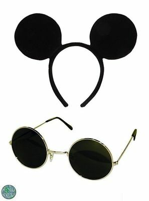 THREE BLIND MICE 2 PIECES  BLACK GLASSES AND MOUSE EARS ON HEADBAND FANCY - Three Blind Mice Costumes