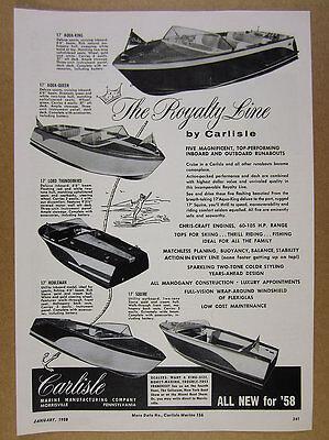 1958 Carlisle Aqua King & Queen Lord Thunderbird Nobleman Squire boats print Ad