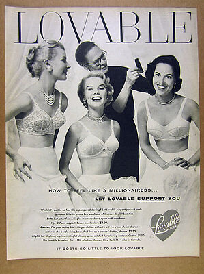 1955 Lovable Bra Ringlet Bras 3 pretty women photo vintage print Ad