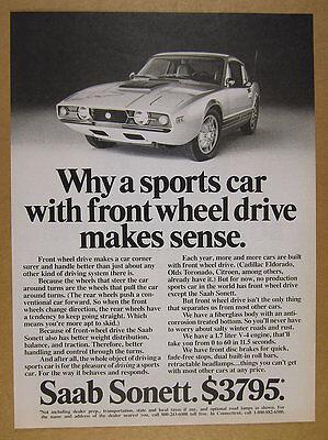 1972 Saab Sonett sports car photo vintage print Ad