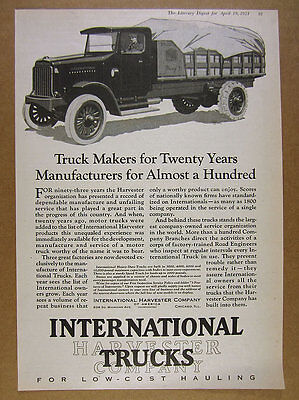 1924 IH International Harvester Truck illustration art vintage print Ad