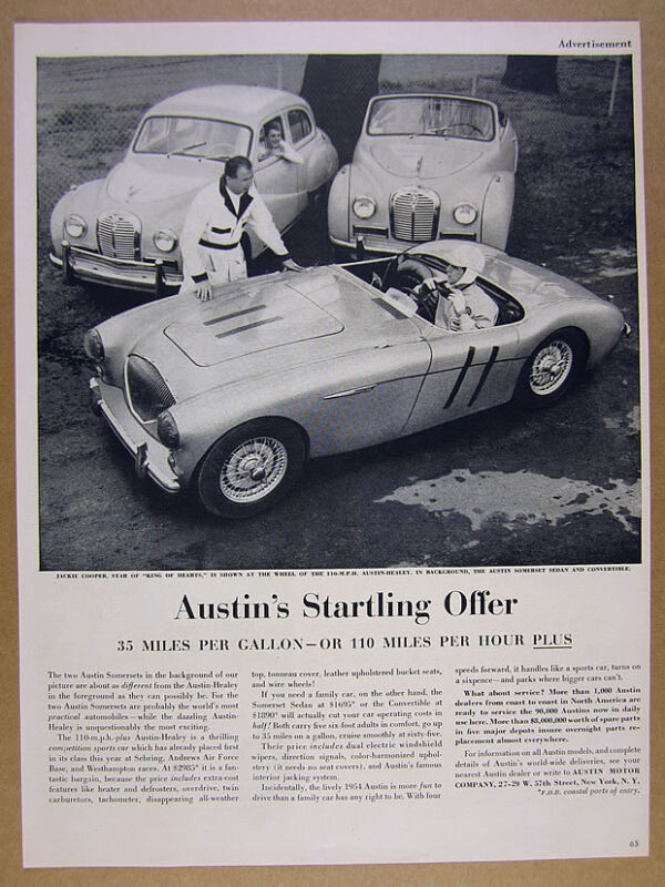 1954 Austin-Healey 100 & Somerset Sedan & Convertible photo vintage print Ad