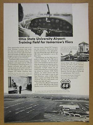 1967 OSU Ohio State University Airport photos Phillips 66 vintage print Ad