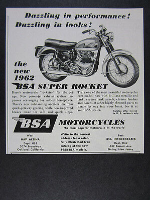 1962 BSA A10 Super Rocket Motorcycle vintage print Ad