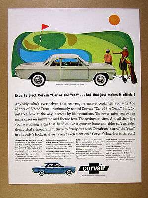 1960 Corvair 700 Club Coupe Car Photo Vintage Print Ad