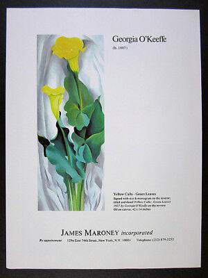 1980 Georgia O'Keeffe Yellow Calla Green Leaves painting vintage print Ad