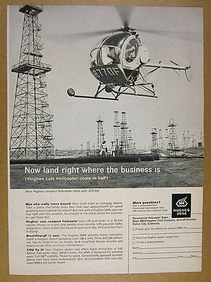 1962 Hughes 269A Helicopter At Oil Field Well Derricks Photo Vintage Print Ad