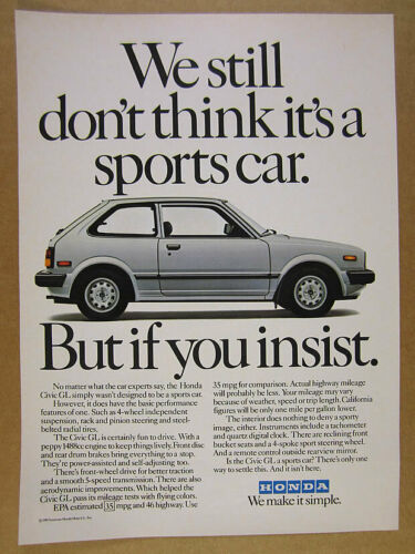 1982 Honda Civic GL hatchback car photo vintage print Ad