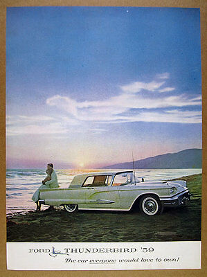 1959 Ford Thunderbird T-Bird Hardtop Coupe color photo vintage print Ad