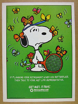 1988 Snoopy   Butterflies Art Met Metropolitan Life Insurace Vintage Print Ad