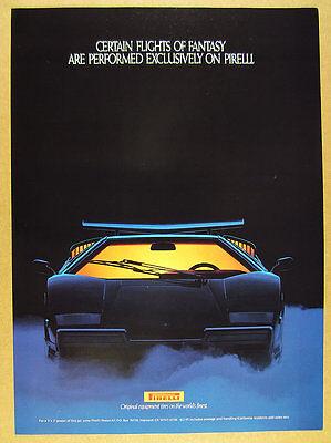 1989 Pirelli Tires Lamborghini Countach photo vintage print Ad