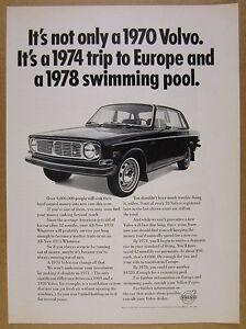 1970 Volvo 144 Sedan car photo vintage print Ad