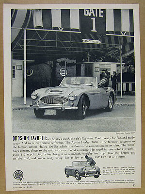 1959 Austin-Healey 3000 sports car photo vintage print Ad