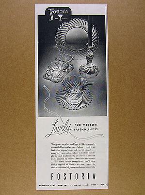 1948 Fostoria Glass COLONY Pattern Crystal plate creamer bowl vintage print Ad