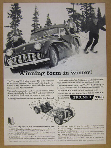 1960 Triumph TR-3 TR3 driving on snow skiers skiing photo vintage print Ad