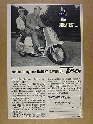 1960 Harley-Davidson TOPPER Scooter father son riding photo vintage print Ad