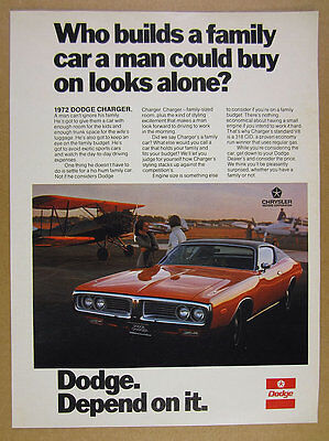 1972 Dodge CHARGER red car photo vintage print Ad