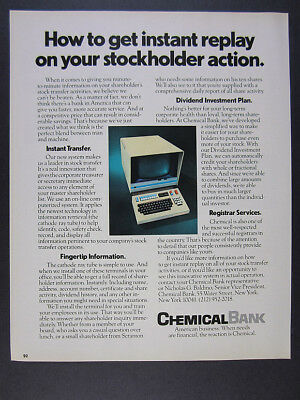 1975 Chemical Bank Stock Transfer On Line Computer System Vintage Print Ad