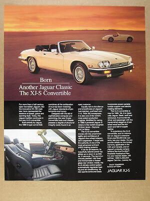 1989 Jaguar XJ-S XJS Convertible color photo vintage print Ad