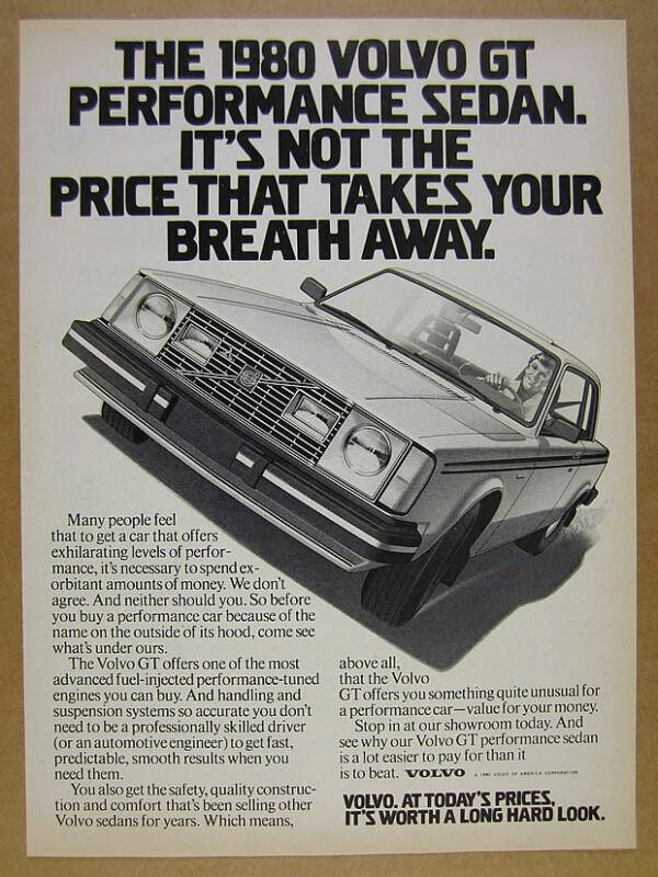 1980 Volvo GT car illustration art vintage print Ad